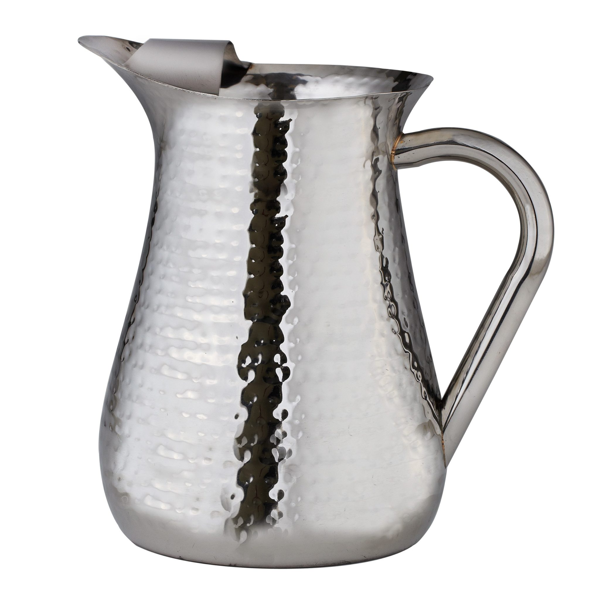 Hammered Water Pitcher With Ice Guard