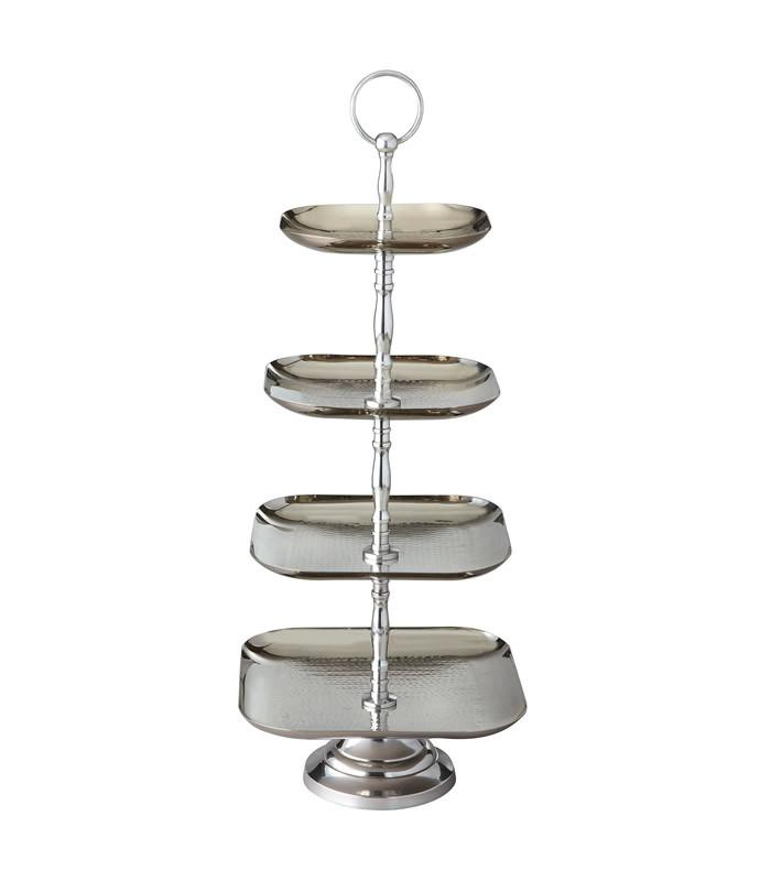 4 Tier Square Hammered Stand